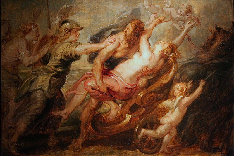 Persephone being abducted by Hades  Note Athena  with the helmet    Hades Abducting Persephone